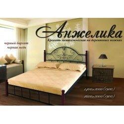 Металлическая кровать на деревянных ножках Анжелика