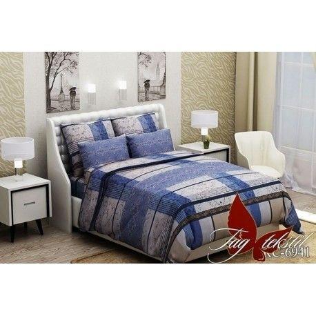 Комплект постельного белья (evro) RC6941 син.