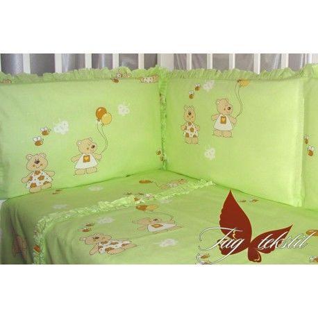 Детский комплект с простынью на резинке Мишки-малышки зелен.
