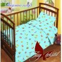 Детский комплект с простынью на резинке Зверята голубой